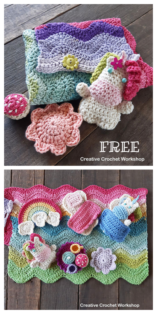 Fold Up Unicorn Play Set Free Crochet Pattern