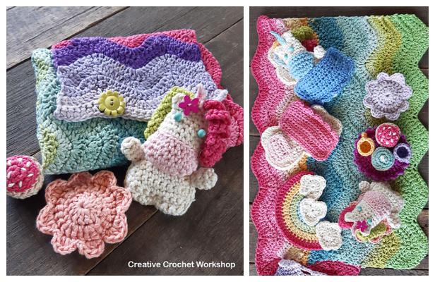 Fold Up Unicorn Play Set Free Crochet Pattern