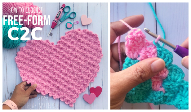Free Form C2C Heart Free Crochet Pattern