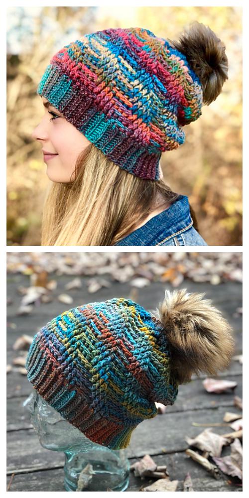 Herringbone Slouch Hat Crochet Patterns