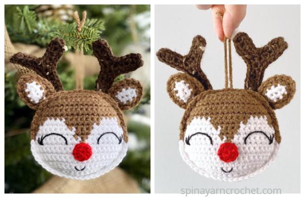 Cute Rudolph Ornament Free Crochet Pattern