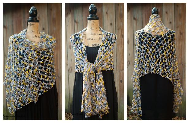 Solomon Knot Stitch Shawl Wrap Free Crochet Pattern