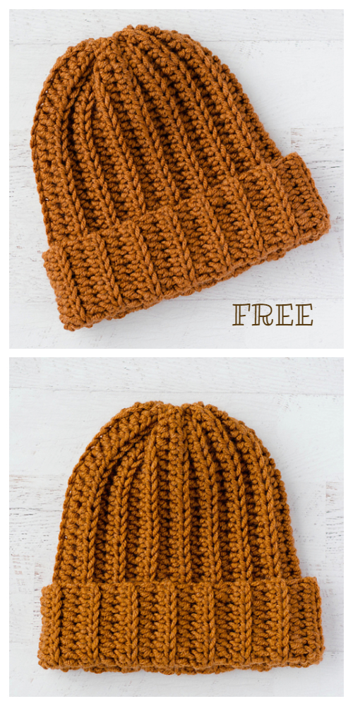 Ribbed Wonder Easy Hat Free Crochet Patterns