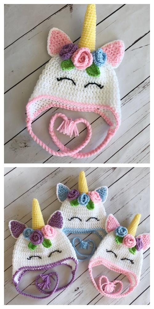 Flower Unicorn Hat Free Crochet Patterns