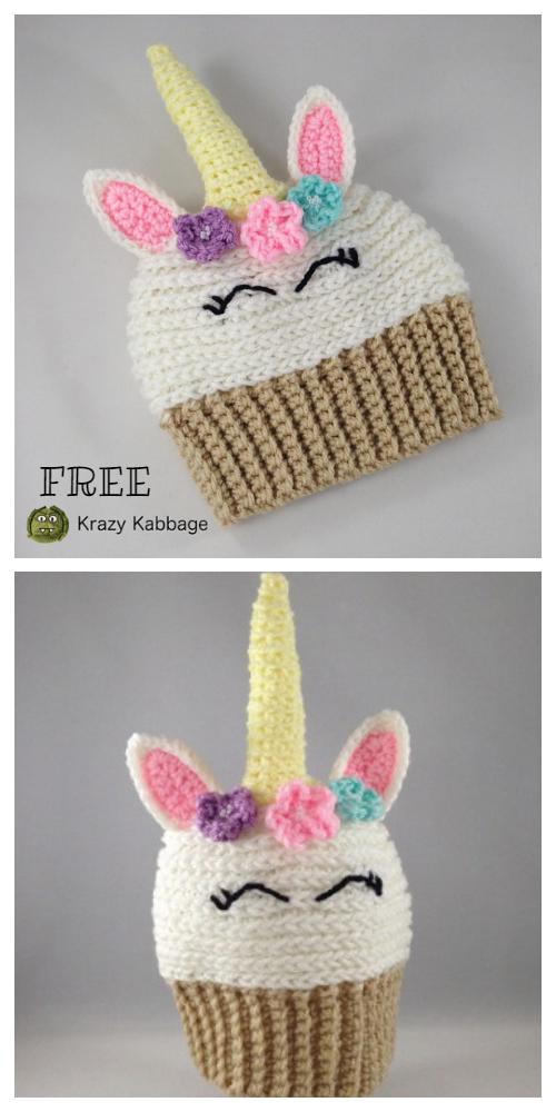 Unicorn Cupcake Hat Free Crochet Patterns