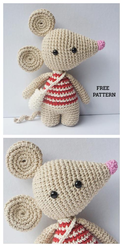 Crochet Tiny Mouse Amigurumi Free Patterns | Crochet mouse ... | 1000x500