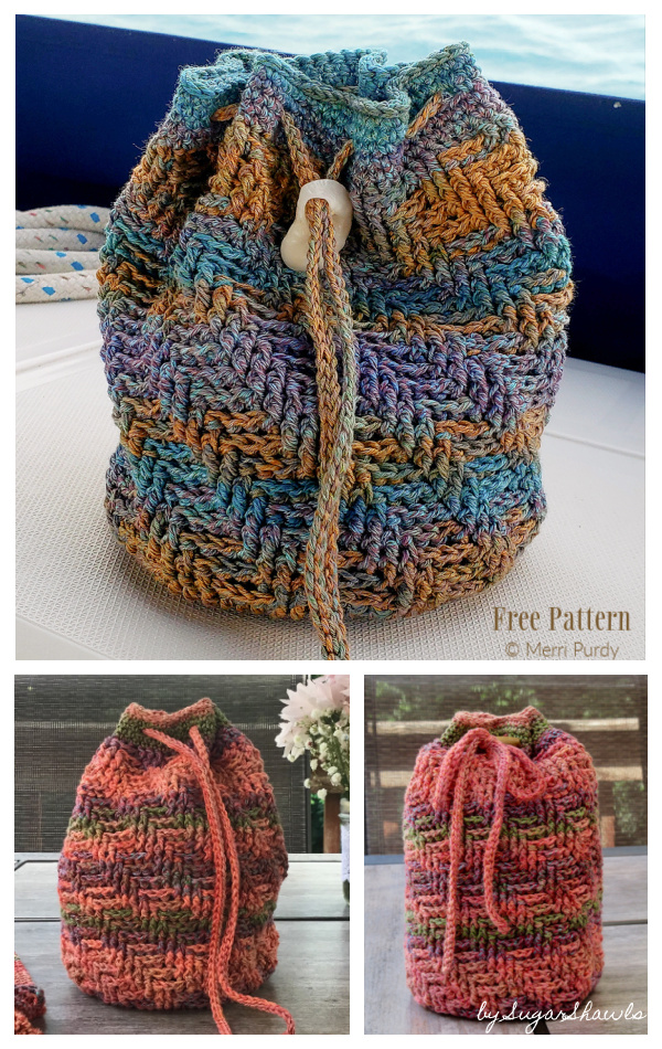 Sand Dollar Beach Drawstring Bag Free Crochet Patterns