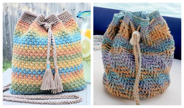Quick Drawstring Bag Free Crochet Patterns & Paid
