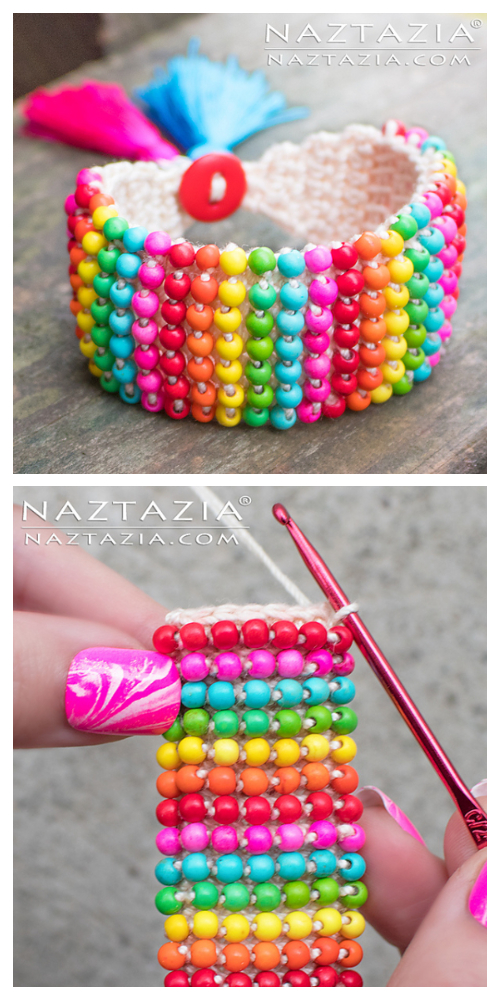 Boho Bead Bracelet Free Crochet Patterns+ Video