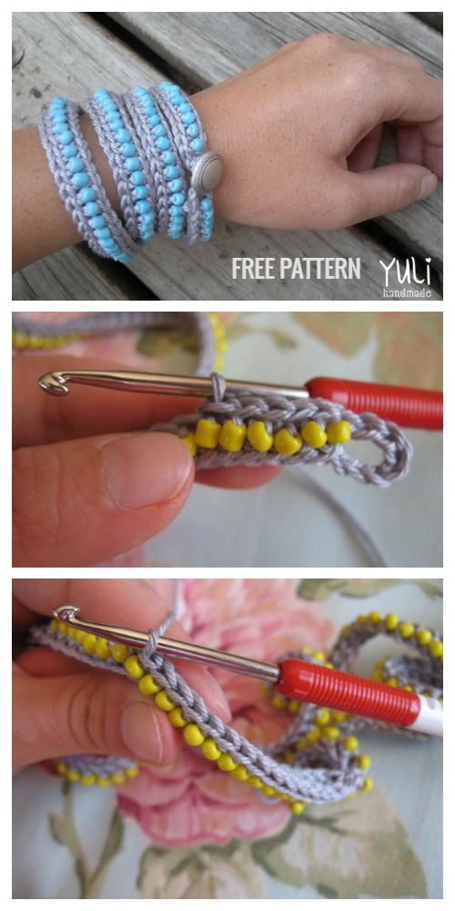 Wrap Around Boho Bead Bracelet Free Crochet Patterns+ Video