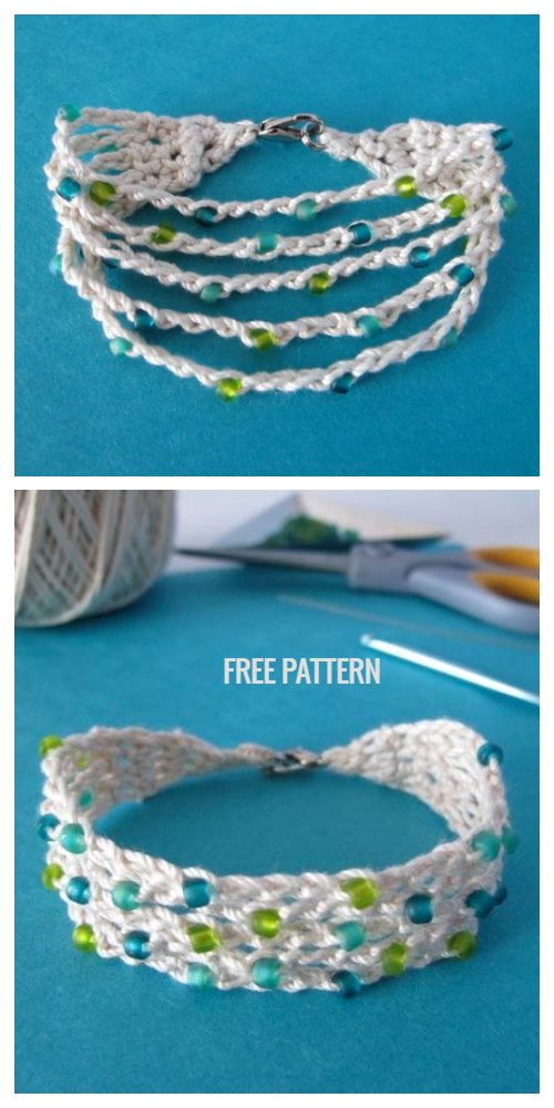 Summer Cotton Boho Bead Bracelet Free Crochet Patterns+ Video