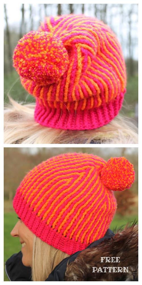 Brioche Beanie Hat Free Crochet Patterns
