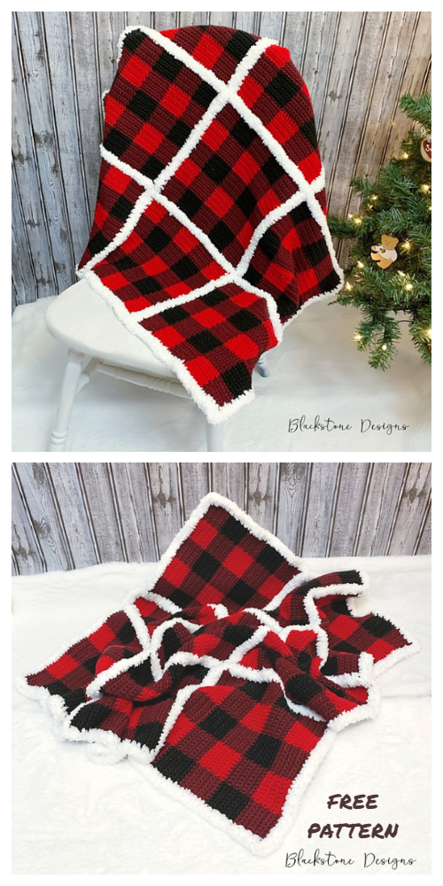 Buffalo Check Plaid Blanket Free Crochet Patterns