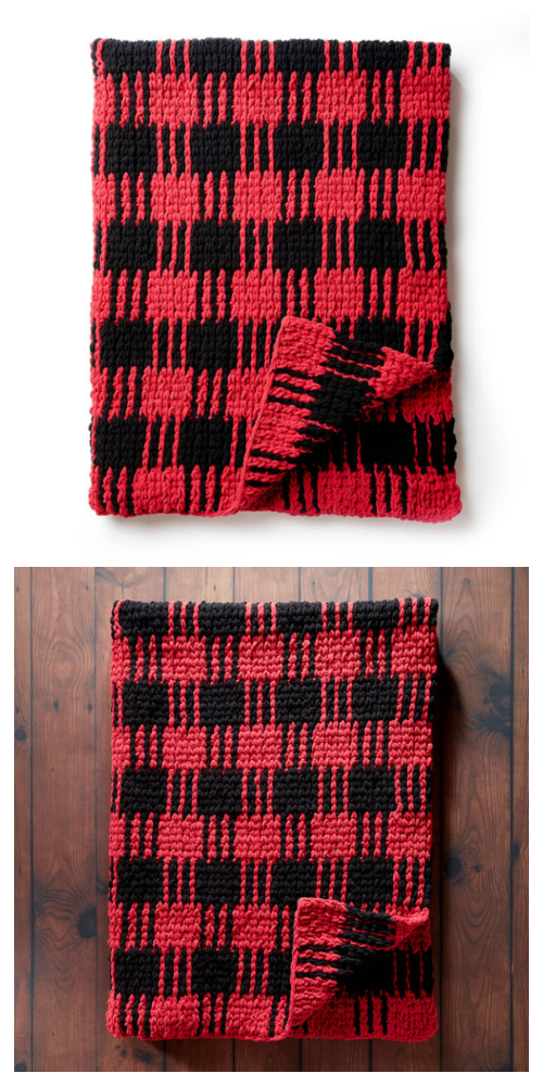 Buffalo Plaid Blanket Free Crochet Patterns