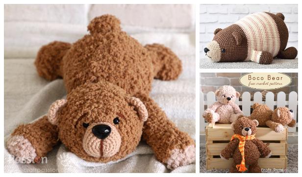 Crochet Lying Bear Amigurumi Free Patterns