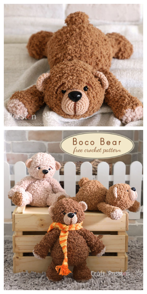 Crochet Lying BOCO Bear Amigurumi Free Patterns
