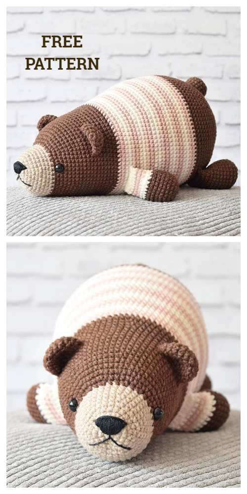 Crochet Lying Bear Amigurumi Free Patterns