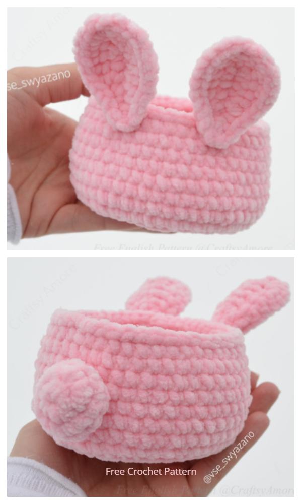 Cute Velvet Easter Bunny Basket Free Crochet Patterns
