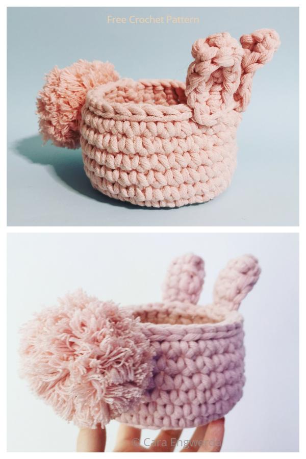Cute Fluffy Bunny Basket Free Crochet Patterns