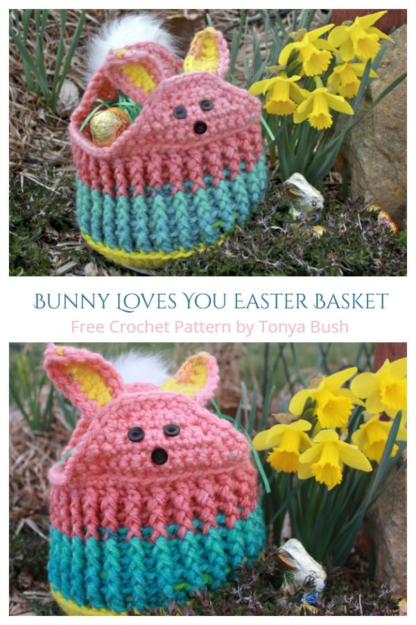 Cute Easter Bunny Love Basket Free Crochet Patterns