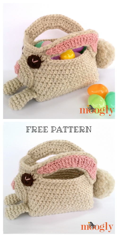 Cute Long Ear Easter Bunny Basket Free Crochet Patterns