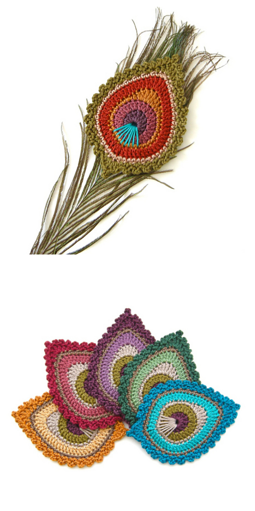 "Crochet Peacock Feather Motif Patterns - Crochet Peacock Feather ""Java"" Motif Pattern"