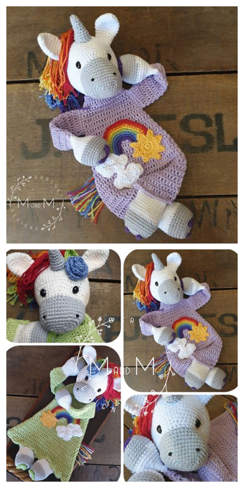 Ragdoll Rainbow Unicorn Animal Free Crochet Patterns