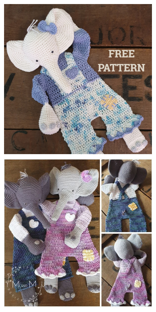 Ragdoll Elephant Animal Free Crochet Patterns