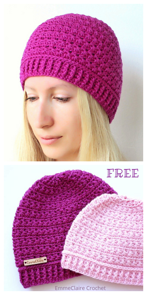 Star Stitch Hat Free Crochet Patterns + Video