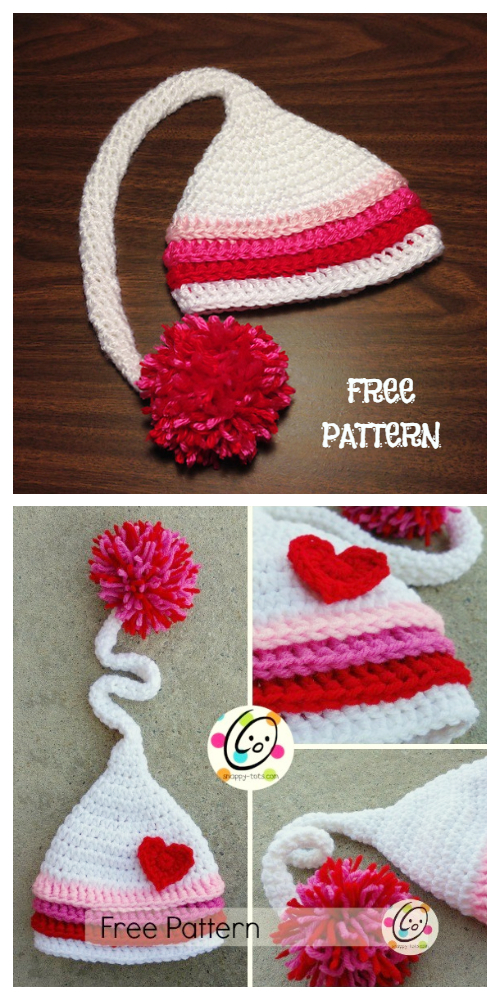 Jazlyn Baby Valentine Heart Hat Free Crochet Patterns