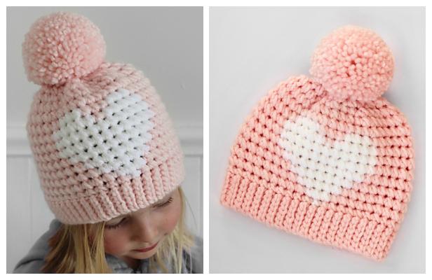 Hunter Valentine Heart Hat Free Crochet Patterns