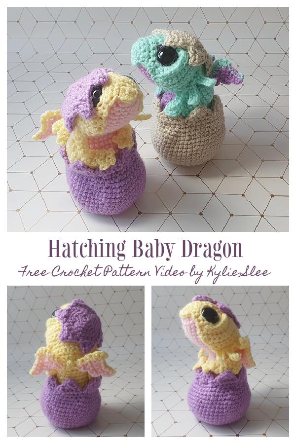 Crochet Hatching Baby Dragon Amigurumi Free Pattern Video Tutorial