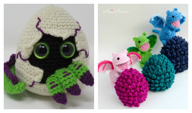 Crochet Hatching Dragon Egg Amigurumi Free Patterns & Paid