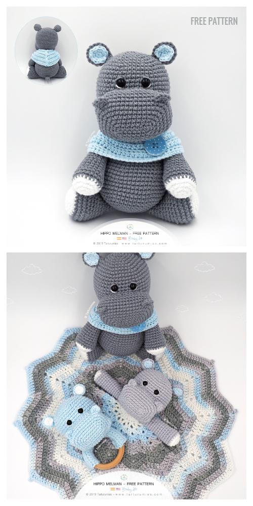 Crochet Hippo Trio Amigurumi Free Patterns