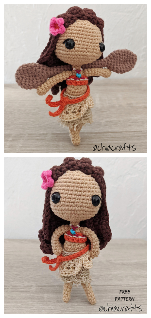 Crochet Moana Princess Doll Amigurumi Free Patterns