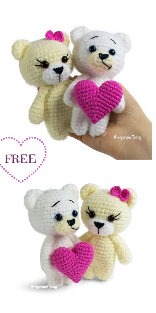 Crochet Valentine Teddy Bear with Heart Amigurumi Free Patterns