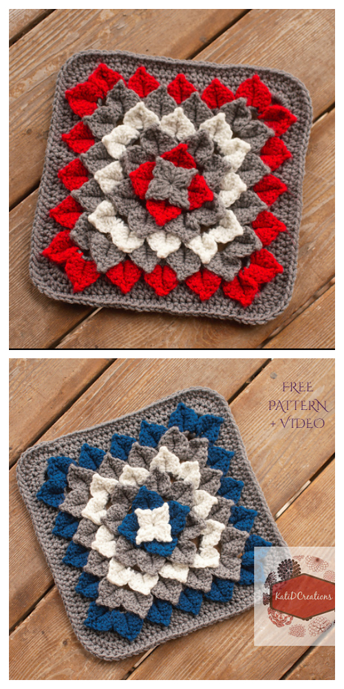 Crocodile Dahlia Square Free Crochet Pattern + Video