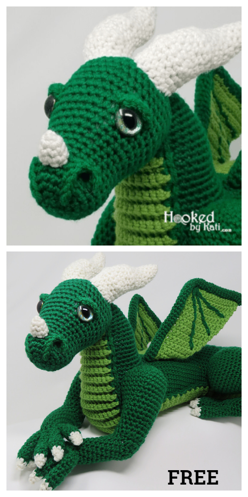 Large Vincent the Dragon Amigurumi Free Patterns