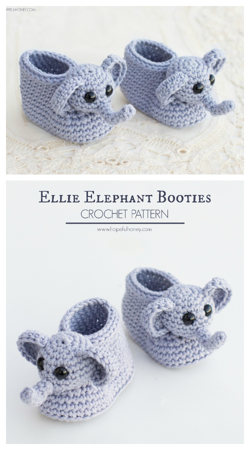 Elephant Baby Booties Free Crochet Pattern + Video