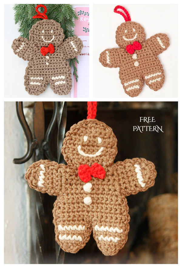 Gingy Gingerbread Man Ornament Free Crochet Patterns