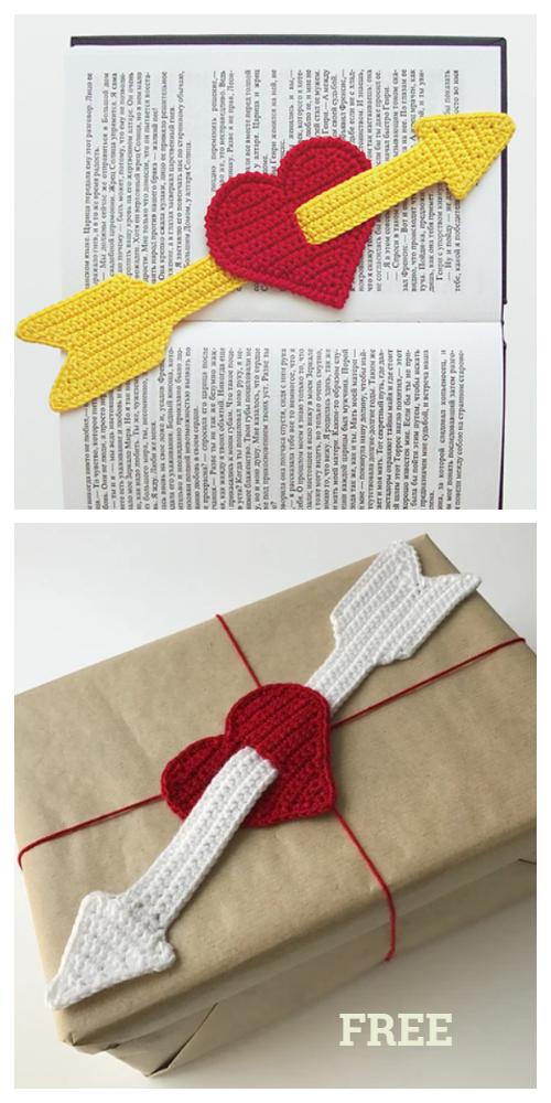 Cupid Heart Love Bookmark Free Crochet Patterns