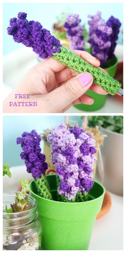 May Flower Lavender Pen Cozy Free Crochet Patterns