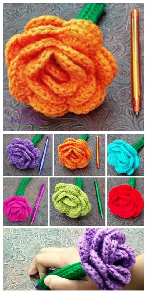 Flower Pen Cozy Free Crochet Patterns