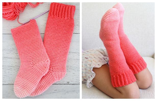 Super Saver Kids Slipper Socks Free Crochet Pattern