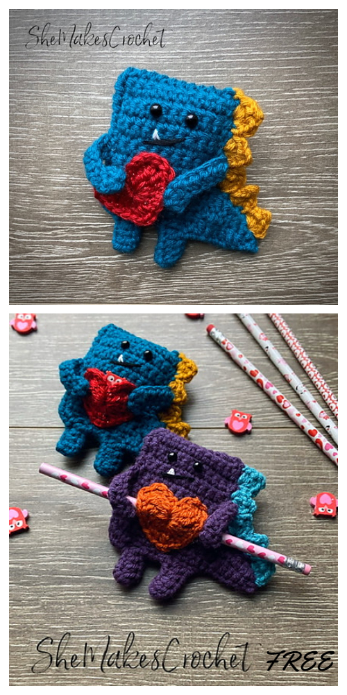 Valentine Candygram Dino Free Crochet Patterns