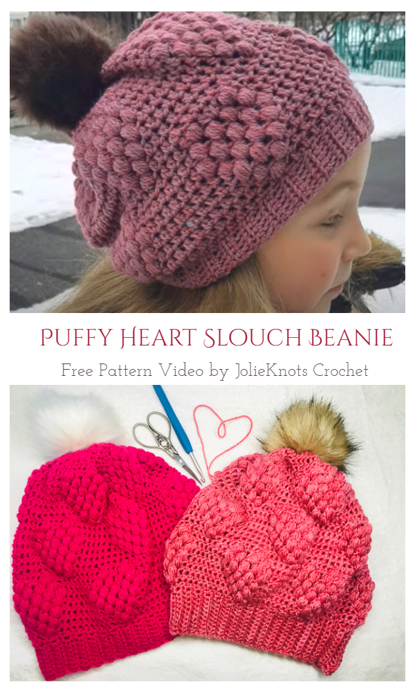 Puffy Heart Slouch Beanie Hat Free Crochet Pattern + Video