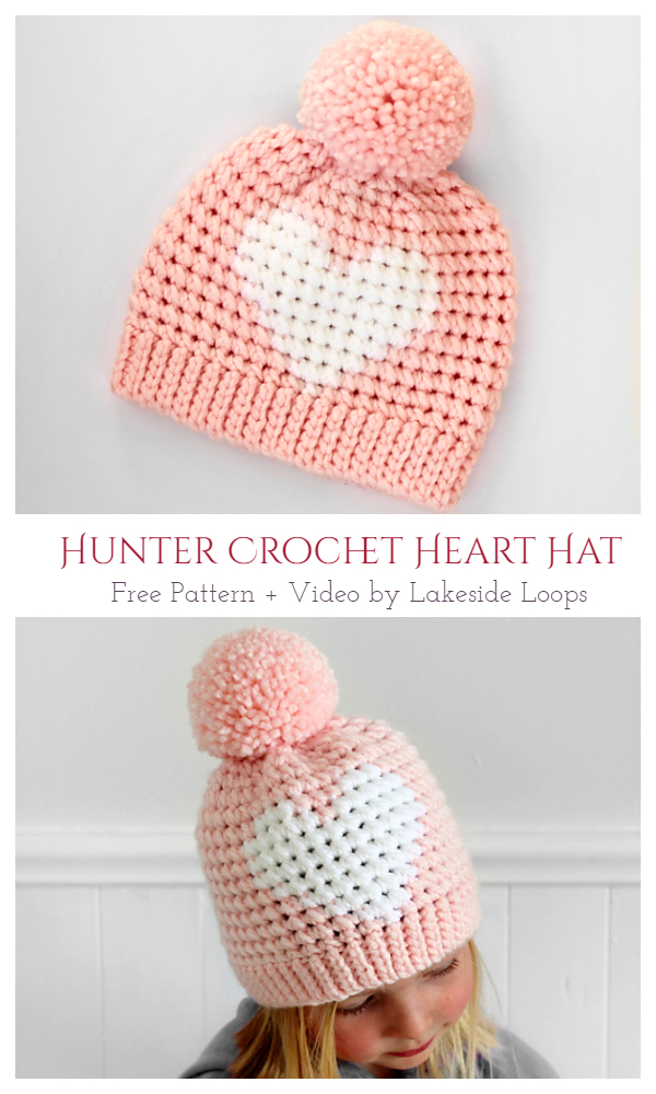 Hunter Heart Hat Free Crochet Pattern + Video