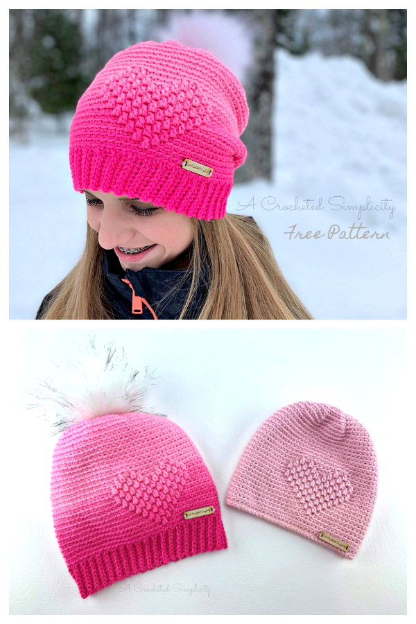 My Love Valentine Heart Hat Free Crochet Patterns