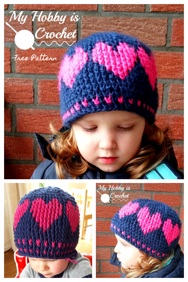 Valentine Heart Hat Free Crochet Patterns