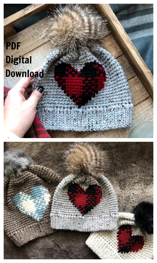Plaid Heart Hat Crochet Pattern
